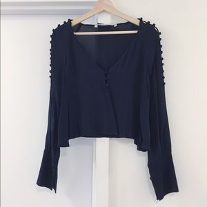 Zara Tops - Navy Zara cropped blouse with button details